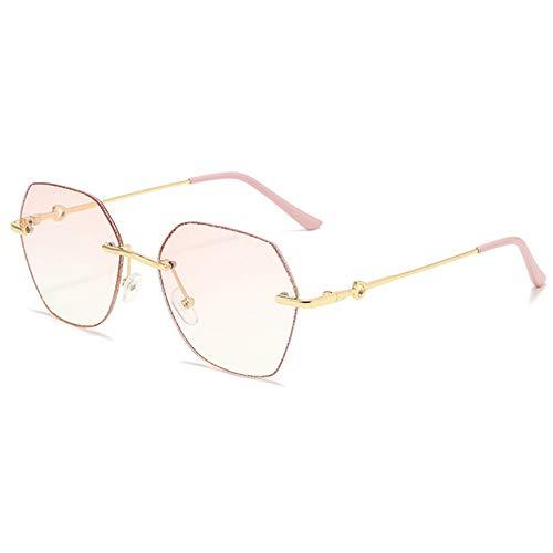 Blue Ray Blocking Mode Sechseck Brille Anti Computer Brille Blaulicht Filter Rahmenlose Frauen Damen Linsen Legierung