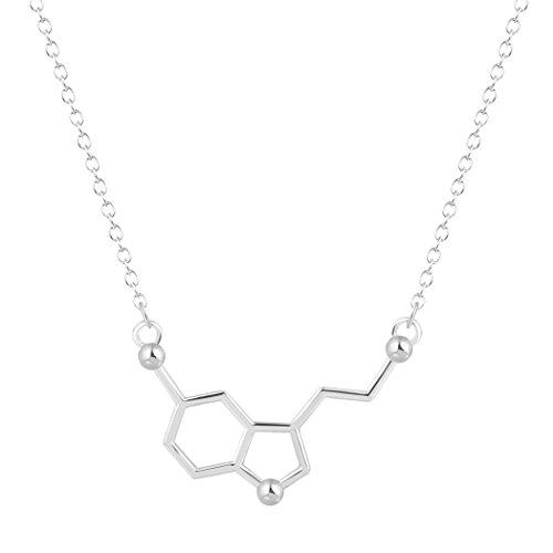 GUUTUUG Joyería orgánica de la química de los Amantes de la Ciencia Collar Molecular de la serotonina