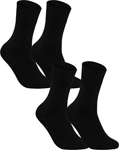 Vitasox 11124 Damen Socken Damensocken Baumwolle Gesundheitssocken extra weiter Schaft ohne Naht ohne Gummi 4 Paar Schwarz 39/42