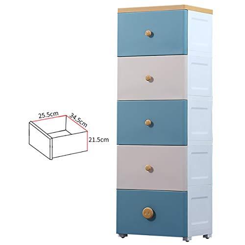 Drawers 5 Fach-Speicher-Schrank, Haushaltskinder Snack Spielzeug-Speicher-Kabinett einfaches Baby Kleiderschrank Kommode mit Riemenscheiben 40x30x124cm ctg (Color : Blue 1)