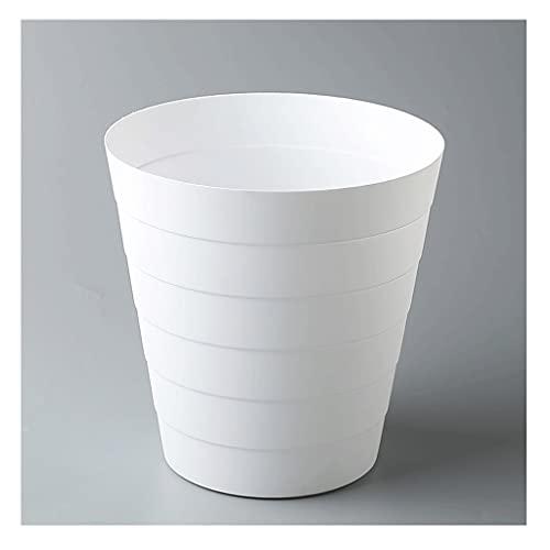 papeleras Papelera de reciclaje de papel de basura de basura de plástico redondo adecuado para dormitorio en casa dormitorio universidad blanca bote de basura ( Color : White , Size : Small )
