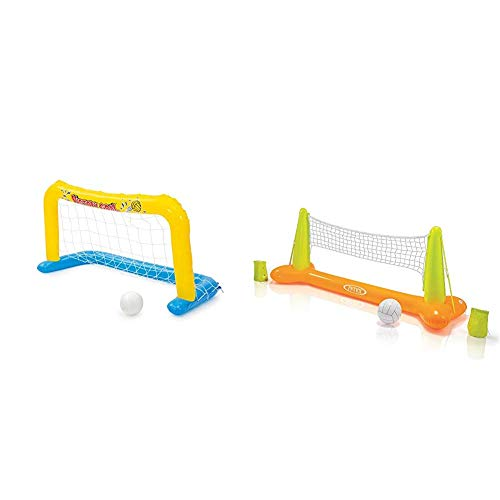 Bestway Polo-Set, 137 x 66 cm & Intex Pool Volleybal Game - Aufblasbares Wasserballspiel - Volleyballnetz - 239 x 64 x 91 cm