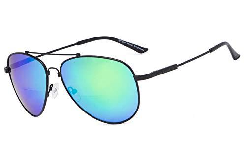 Eyekepper Bifokal Sonnenbrille-Polit Stil Sunglass mit Gedächtnis-Brücke und Arm lesen(Schwarzer Rahmen Grüner Spiegel, 1.50)