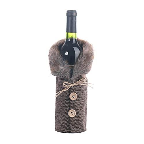 Cubierta de la botella de vino de suéter de Navidad, decoraciones de la fiesta de Navidad con collar y abrigo de botón, ropa de vestíbulo de peluche Falda de la botella de vino, decoraciones del gabin