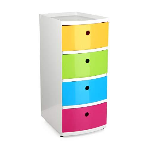 Tatay Torre ordenación plástico Resistente, con Cuatro cajones de Vivos Colores Acabado Brillante, Ideal para niños. Topes Antideslizantes.
