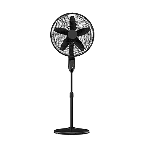 PELONIS PFS45A5BBB 18 inch 5-Blade Oscillating, Adjustable Standing Pedestal Remote, LED Display, 5 Speed Setting and 7-Hour Timer Fan, Black