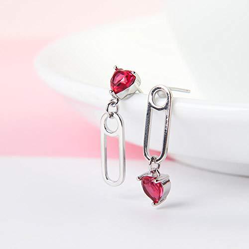 Erin Glamour Elegante Cristallo Rosso A Forma di Cuore in Lega Geometrica Graffetta Forma Pendente Perno Orecchini Pendenti Accessori Gioielli Creativi