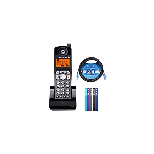 Motorola ML25055 2-Line DECT 6.0 Cordless Handsets Compatible with Motorola ML25212 / ML25252 / ML25260 Base Stations Bundle with Blucoil 10-FT Cat5e Cable, and 5-Pack of Reusable Cable Ties