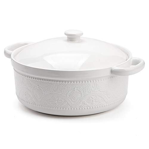 FE Casserole Dish with Lid, 2 Quart Ceramic Casserole Pan with Lace Emboss for Bakeware Oven (White)