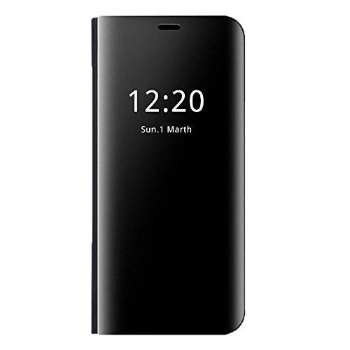 Handyhülle Galaxy S6 S6 Edge Plus Hülle, Galaxy S6 Spiegel Schutzhülle PU-Leder Flip S6 Edge Handytasche mit Standfunktion Galaxy S6 Edge Plus Ledertasche (Schwarz, Galaxy S6 Edge Plus)