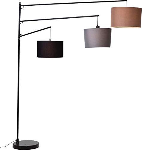 Kare Design Stehlampe Lemming Tree, moderne Design Standleuchte mit 3 Lampenschirmen, schwarz-grau-khaki (H/B/T) 199x161,5x40cm