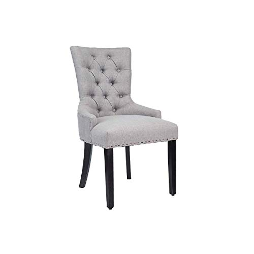 CangLong Modern Elegant Button-Tufted Upholstered Fabric With Nailhead Trim Dining Side Chair for Dining Room Accent Chair for Bedroom, Light Grey
