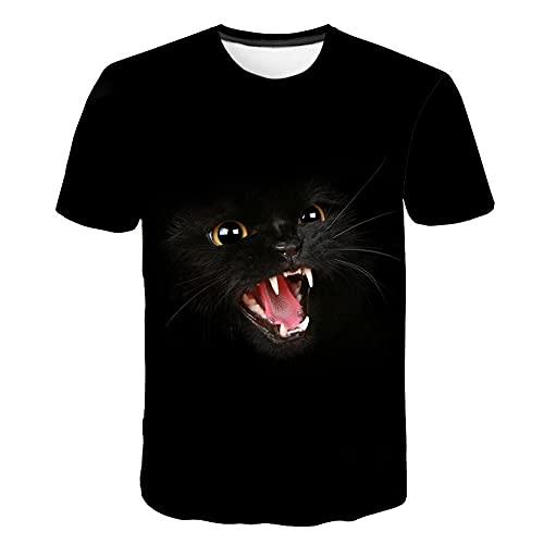 Camiseta 3D para Hombre con Estampado Casual Verano Otoño Camiseta para Adultos Sudadera De Manga Corta Abrigo Superior,Gato Negro,5XL