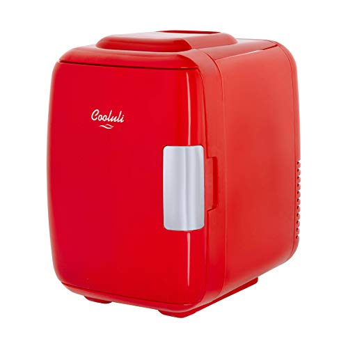 Cooluli Classic Red 4 Liter Compact Cooler Warmer Mini Fridge with AC/DC/USB Power - Great for Bedroom, Office, Car, Dorm - Portable Makeup Skincare Fridge