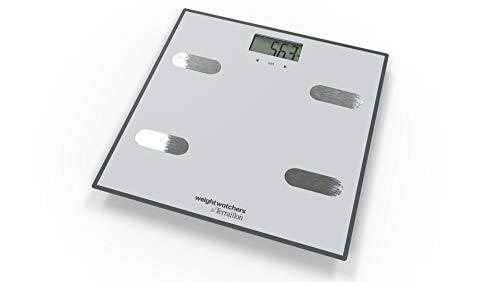 Weight Watchers By Terraillon Báscula electrónica Análisis de Masas Corporales, IMC, 8 memorias Usuarios, 150 kg, Elástico de Deporte y su libro de 17 ejercicios incluidos, Easy Move, gris