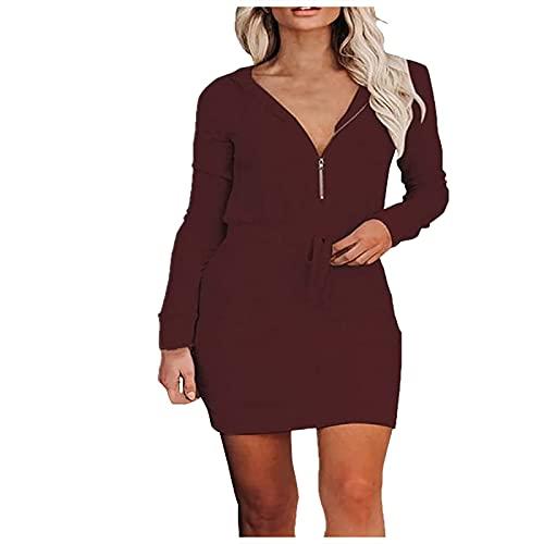 Kobay Damen Herbst Winter Langarm Rock Lässig Mode Kleider Bequem Frauen Lässig Einfarbig Reißverschluss Langarm Mit Kapuze Taillenkleid(Wein, S)