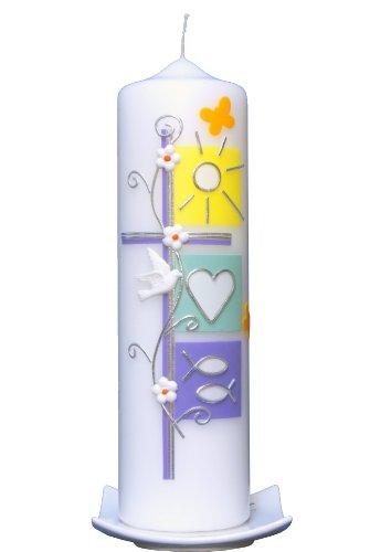 Taufkerze Frühling 25x7cm, wird NUR auf Kundenwunsch für Sie gefertigt. Bei uns bekommen sie keine Massenware. Jede Kerze für sich, ist ein Unikat.