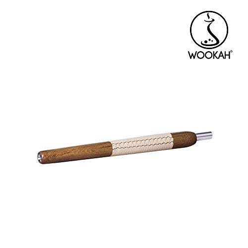 WOOKAH Holzmundstück - Leder PADOUK, beige (Hookah, Shisha, Wasserpfeife)
