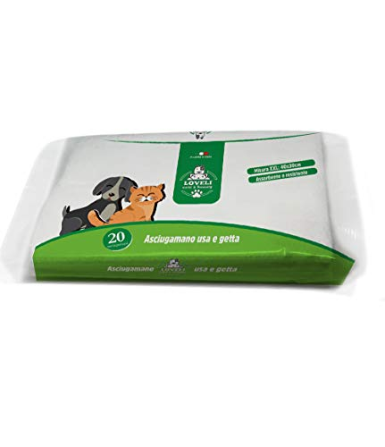 Loveli Pet Toallas desechables para perros y gatos, 1 paquete de 20 paños – 100 g