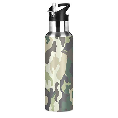 YVONAU Camo Camouflage Forest Military Sport Water Bottle with Straw, Vacuum Insulated Stainless Steel Thermal Flask Leakproof BPA Free Drinking Bottle for Gym Fitness Camping-20oz/600ml
