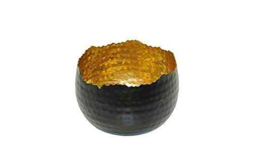 Sphärenlicht - 2 Stück - D13cm / H9cm - Alu - Schwarz / Gold - Weihnachtsdeko