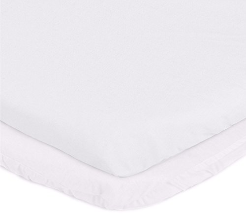 "aBaby Bassinet Mattress Protector and Sheet Combo, White, 17"" x 31"""