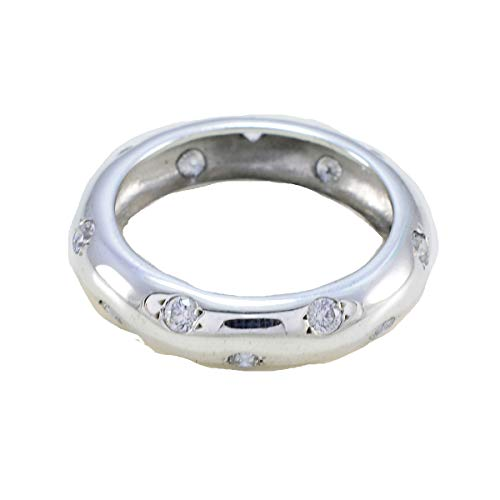 joyas plata piedra preciosa forma redonda multi piedra facetada cz anillos blancos - anillo de plata esterlina cz blanca blanca - nacimiento de abril aries