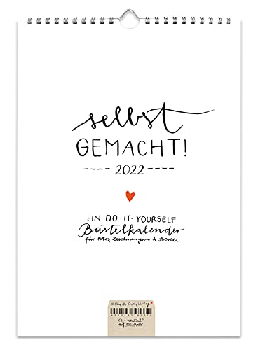 A4 Bastelkalender 2022, FSC Papier Fotokalender, Kreativkalender, Geburtstagskalender, selbstgemacht Design schlicht, Schwarz Weiß mit Herz, Kalender selbst gestalten, basteln und verschenken