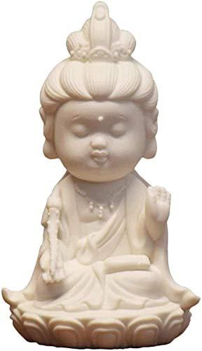 Coleccionables estatuas pequeñas de quan yin meditando la escultura sentada para la oficina de la decoración del coche del hogar 4.7 Kwan Yin Diosa de la misericordia y la compasión 311 ( Color : A )
