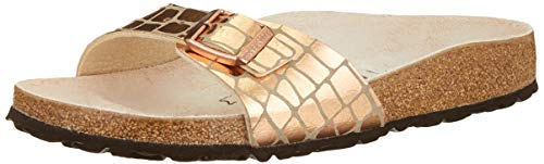BIRKENSTOCK Damen Mules Madrid Microfibre Gator Gleam Copper Sandale, 37 EU Étroit