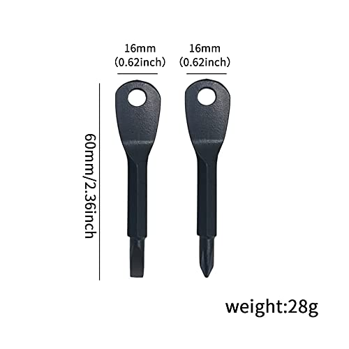 2 PCS Portable Keychain Screwdriver, 60mm Durable Stainless Steel Screwdriver Set, Use for Father's Day, Mother's Day,Gifts for Dad from Daughter Son,Black