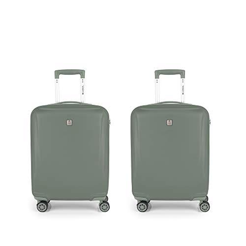 Gabol - Vermont   Juego de Maletas de Viaje con Cargador Rigidas de Color Verde con 2 Maletas de Cabina