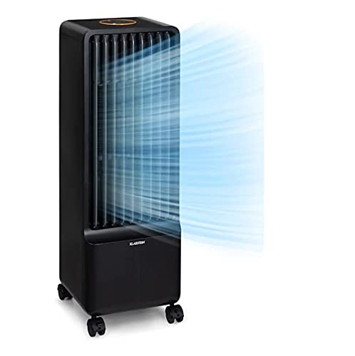 Klarstein Maxflow - Climatizador de aire 3 en 1, Caudal aire hasta 700 m³/h, Potencia 80 W, Temporizador, 4 velocidades, Depósito agua 5 L, Pantalla LED, Oscilación, Ruedas, Control táctil, Negro