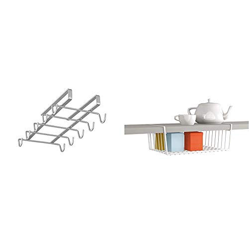Metaltex MY-MUG Colgador de cocina para 10 tazas, color plateado + Estante intermedio, Blanco, 40 cm