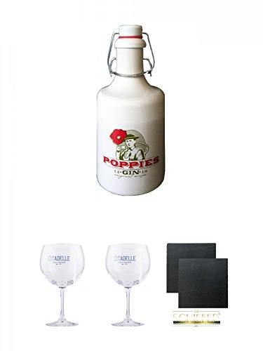 Poppies Gin Belgien Deutschland 0,5 Liter + Citadelle Ballon GIN Glas 1 Stück + Citadelle Ballon GIN Glas 1 Stück + Schiefer Glasuntersetzer eckig ca. 9,5 cm Ø 2 Stück