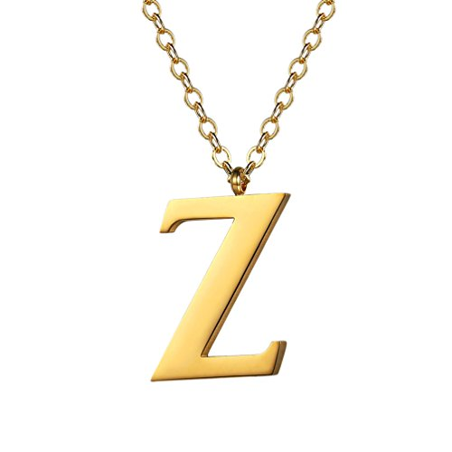PROSTEEL Collar de Iniciales Colgante de Letra A-Z Colgante para Mujer Hombre de Acero Inoxidable/Chapado en Oro 18k/en Metal Negro con Caja de Regalo