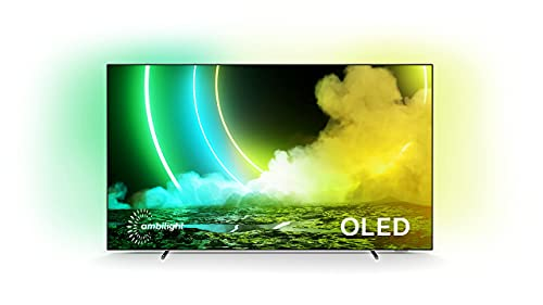Philips Ambilight 55OLED705/12 55-Inch OLED TV (4K UHD, P5 AI Perfect Picture Engine, Dolby Vision?Atmos, HDR 10+, Freeview Play, Compatible with Alexa, Android TV) Chrome (2021/2022 Model)