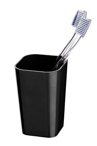 Wenko Vaso para Cepillos de Dientes, Poliestireno, Negro, 7.3x7.3x11 cm
