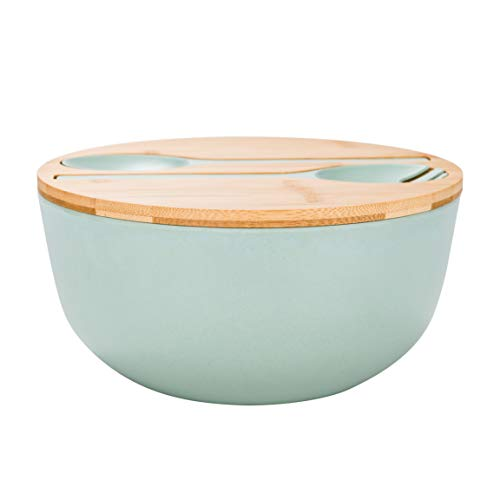 Bamboo Fiber Salad Bowl with Servers Set - Large 9.8 inches mixing bowls Solid Bamboo Salad Wooden Bowl with Bamboo Lid Spoon for Fruits,Salads and Decoration (Blue -green, 9.8INCH)