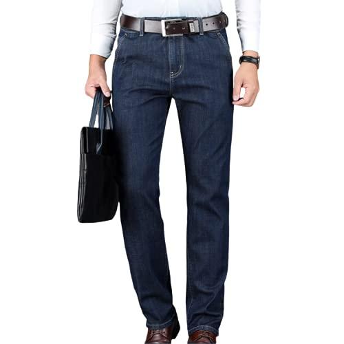 Segindy Pantalones Vaqueros de Negocios para Hombre, Primavera y otoño, Cintura Alta, Holgados, Rectos,...