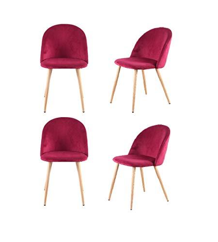 Juego de 4 sillas de comedor tapizadas de terciopelo con respaldo de patas de metal, retro vintage acolchado acolchado asiento sillones acento sillas oficina salón