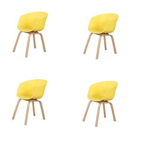Un conjunto de cuatro sillas de comedor estilo escandinavo retro con patas de metal, adecuadas para sala de estar, dormitorio, varios lugares de entretenimiento, etc. Amarillo