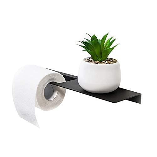 Porta carta igienica con ripiano, accessori per il bagno nero opaco, igual del supporto della carta igienica.