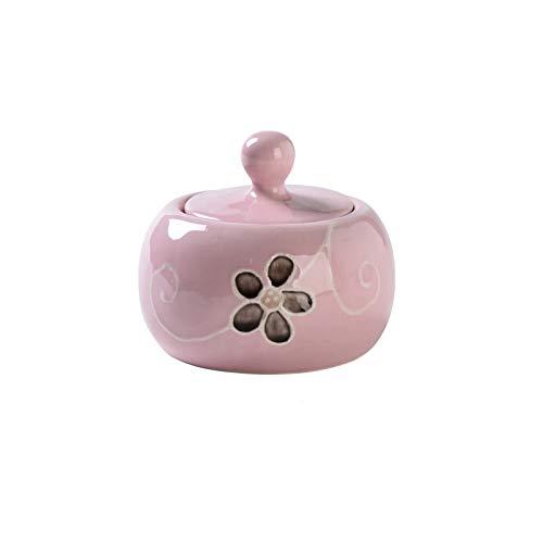 Ollas de condimentos Sugar Cowl Home Creative Ceramic Towl Salt Bowl Condujado Tarro con tapa Café Can Tea Tea Coffee Una buena pareja (blanco / amarillo / rosa) Caja de almacenaje ( Color : Pink )
