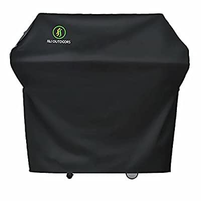 F&J Outdoors Waterproof Grill Cover,600D Heavy Duty UV Resistant Anti-Fading BBQ Barbecue Cover Fits Grills of Weber Char-Broil Nexgrill Holland Brinkmann and More,Black