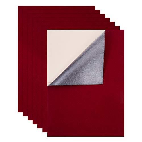 BENECREAT 12PCS Tela de Terciopelo (Rojo) 40x29cm Tela Adherente Pegajosa Hojas Posteriores Hojas Adhesivas Traseras, Hoja A3, Autoadhesiva, Duradera y Resistente al Agua, Multiusos
