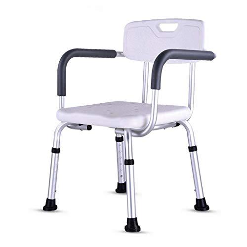 Douchestoel met armleuningen en rugleuning met 6 hoogteverstellingen, antislip geschikt afsluitend bad badstoel voor badkamer en huishoudelijke douchecabine
