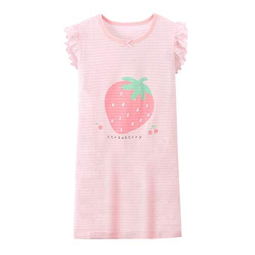 Coralup Camisones de encaje 100% algodón para niñas, camisones, princesa, bowknot fresa, camisón de 2-14 años