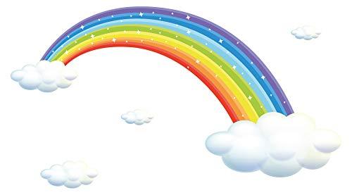 Wandtattoo Kinderzimmer Wandsticker Regenbogen mit weißen Wolken zum Kleben Wan