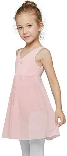 MdnMd Ballet Dance Leotard for Girls Toddler Long Skirt Gymnastic Ballerina Dress Outfit (Ballet Pink, Age 2-4 / 2t,3t)